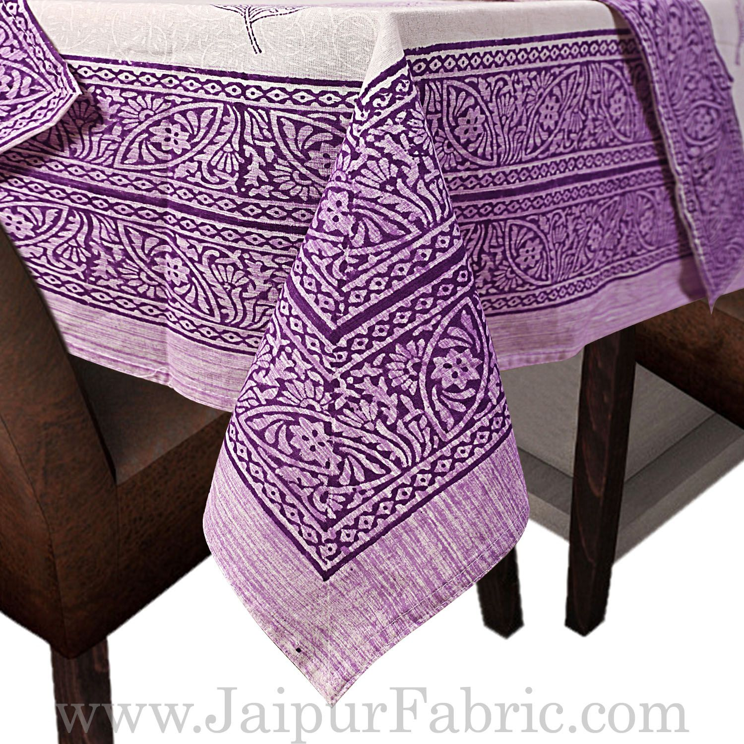 Purple Border White Base With Flower  Hand Block Print Super Fine Cotton Table Cover