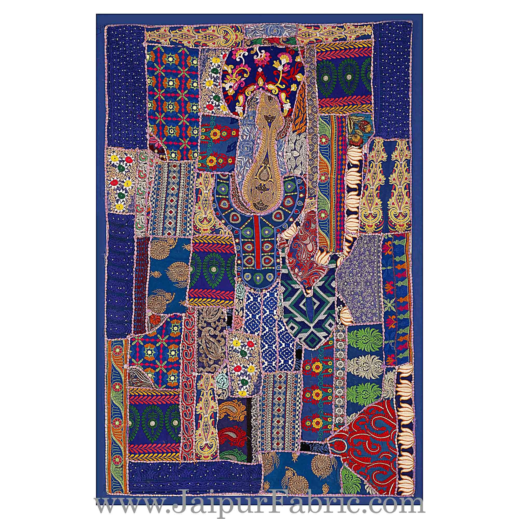 Wall Hanging Embroidered Patchwork With Applique work Multi Color Designs