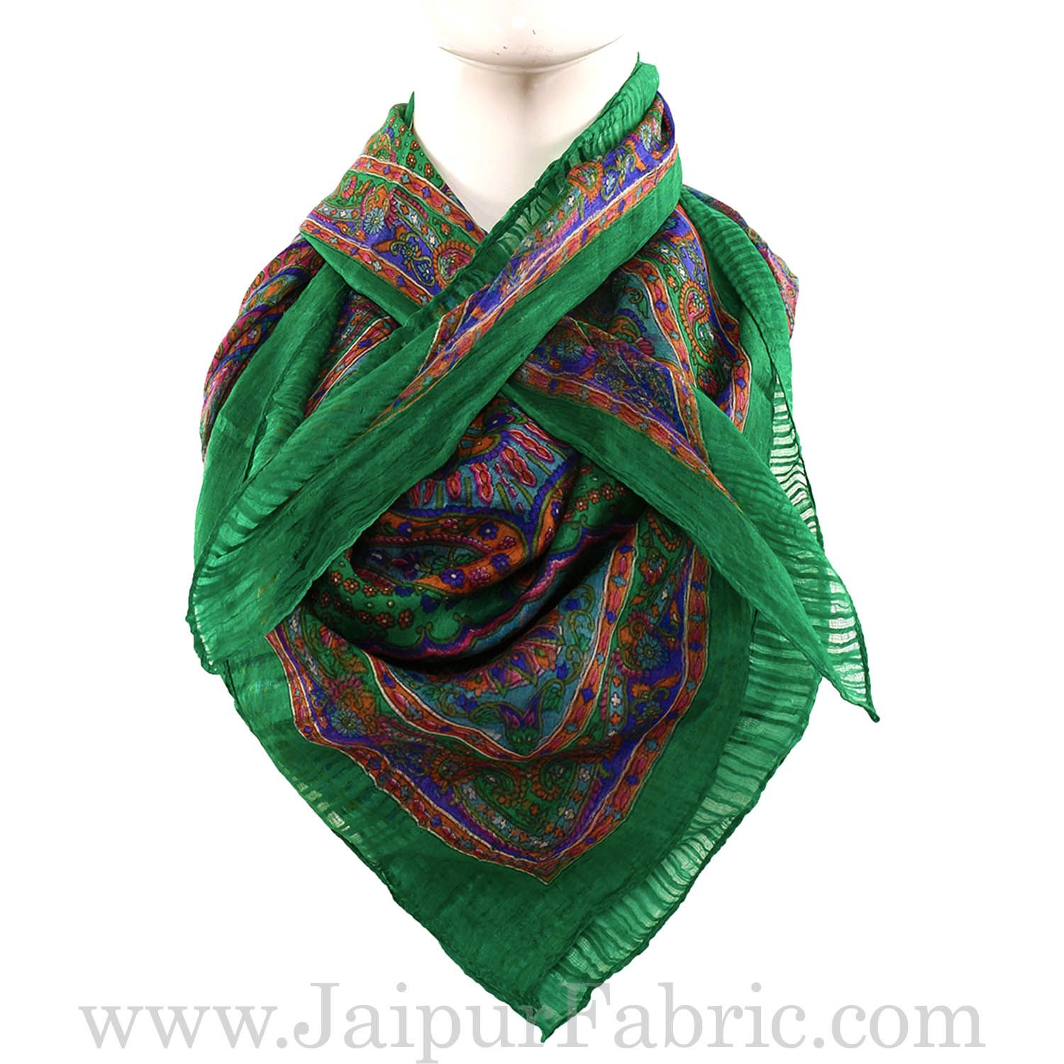 Silk Scarf Green Rangoli Multi Floral design