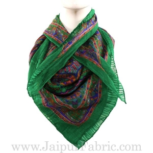 Silk Scarf Green Rangoli Multi Floral design