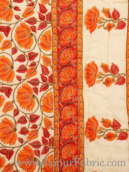Orange And Cream Border With Golden Print Orange Flower Super Fine Cotton Voile(Mulmul) Both Side Printed Cotton Single Bed Quilt