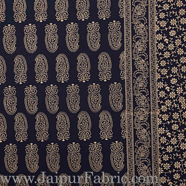 Double Bed Sheet With Shining Gold Print Blue Base Gold Kerry Pattern Super Fine Cotton