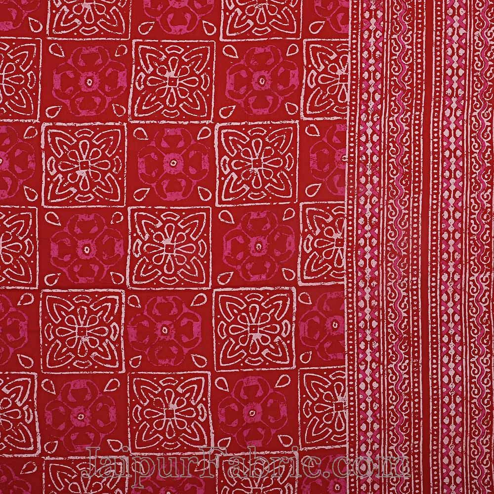 Double Bedsheet Dabu Indigo Dye Red Geometric Patteren