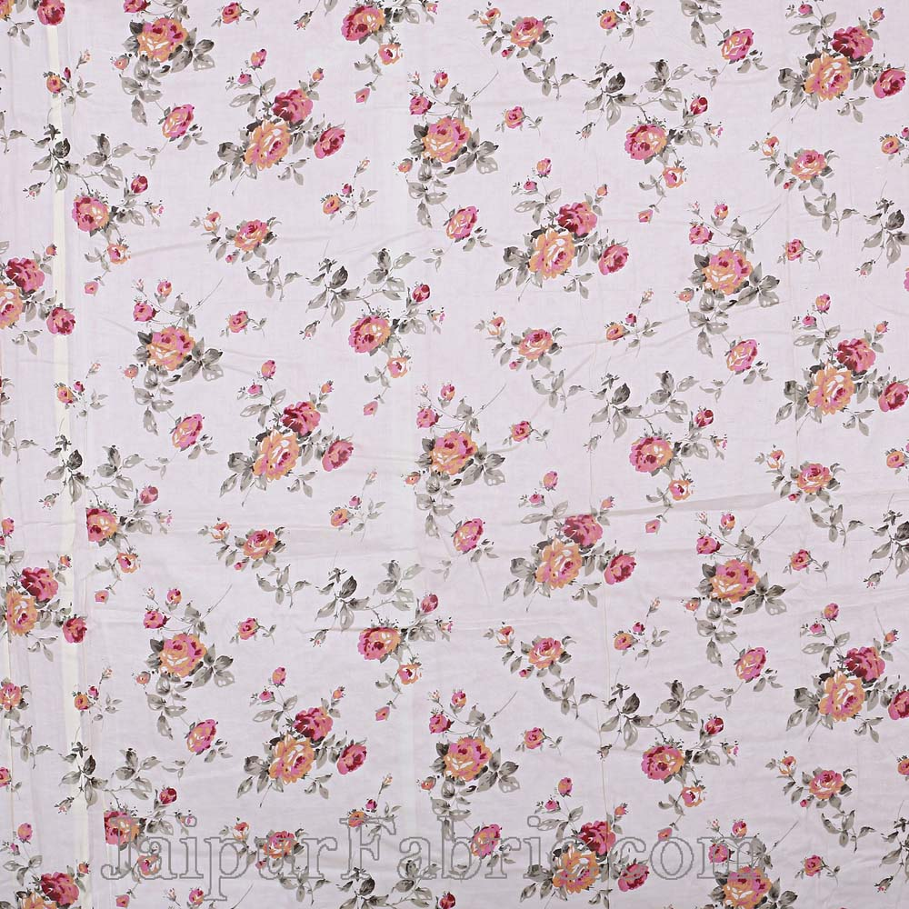 Muslin Cotton Double bed Reversible mulmul off white Dohar in seamless floral print