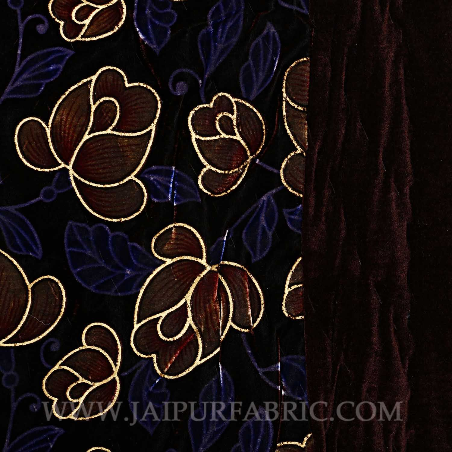 Jaipuri Printed Single Velvet Quilt/Rajai Hand Crafted Floral Print