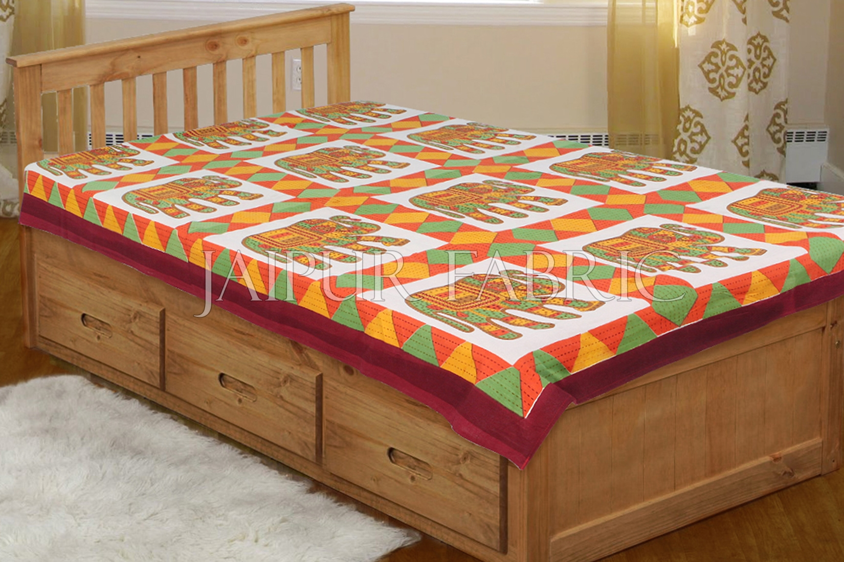 Red Border With Orange and green Elephant Print Single Bedsheet