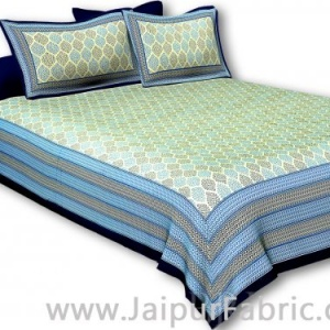 Navy Blue  Border Cream Base Leaf Pigment Cotton Satin Hand Block King Size Double Bedsheet