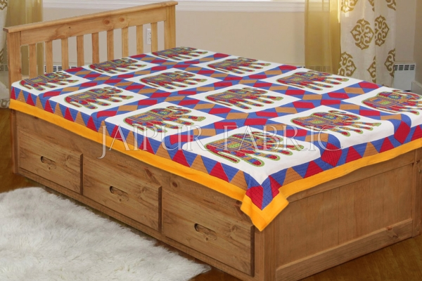 Yellow Border With Red and Blue Elephant Print Single Bedsheet