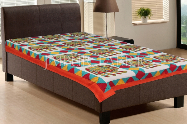 Orange Border With Brown and Blue Elephant Print Single Bedsheet