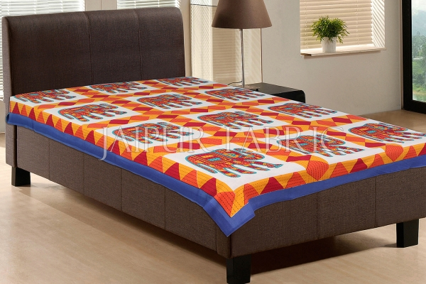 Blue Border With Red and Orange Elephant Print Single Bedsheet
