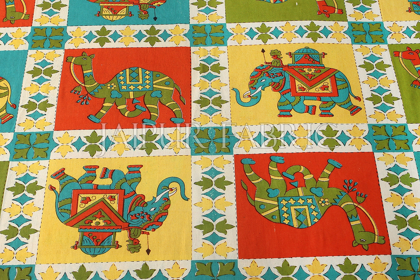 Orange Border Rajasthani Camel and Elephant Square block print Single Bed sheets