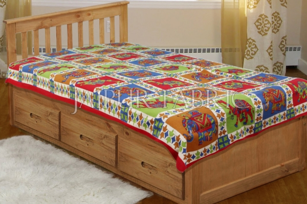 Red Border Rajasthani Camel and Elephant block print Single Bed sheets