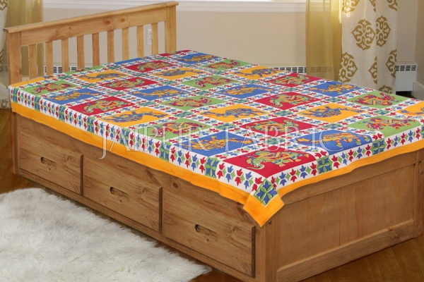 Yellow Border Rajasthani Camel and Elephant block print Single Bed sheets
