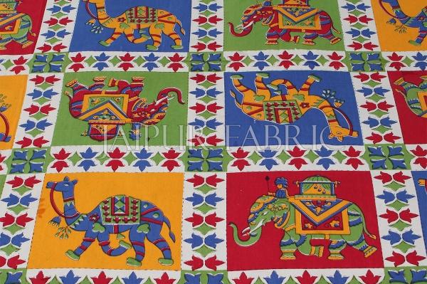 Yellow Border Rajasthani Camel And Elephant Block Print