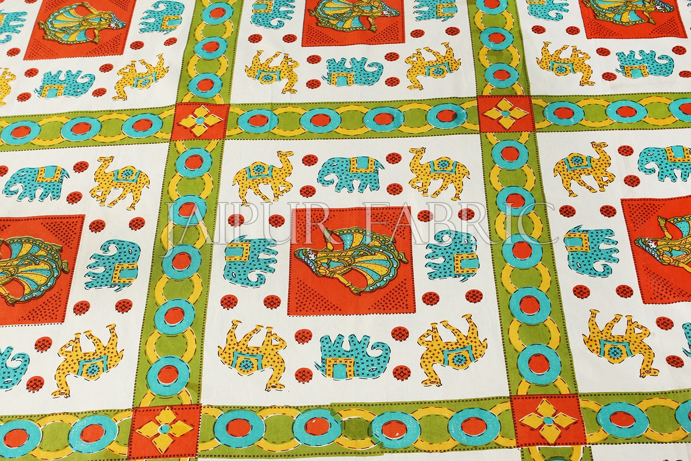 Orange Border Multi Pattern Printed Single Bed sheet