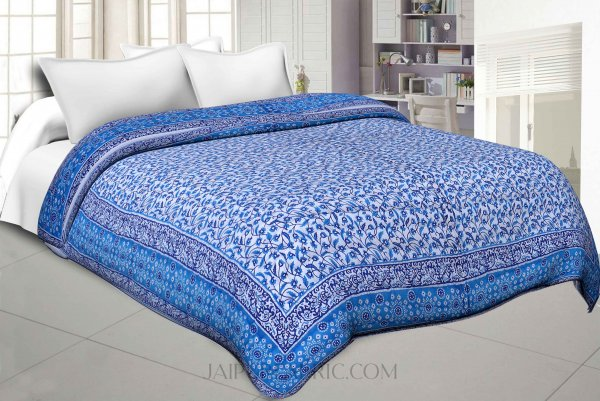 Blue Manjari Jaipuri Double Bed Quilt