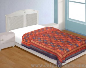 Navy Blue Border Multi Colour  Check & Dabu Print Fine Cotton  Single Bed Quilt