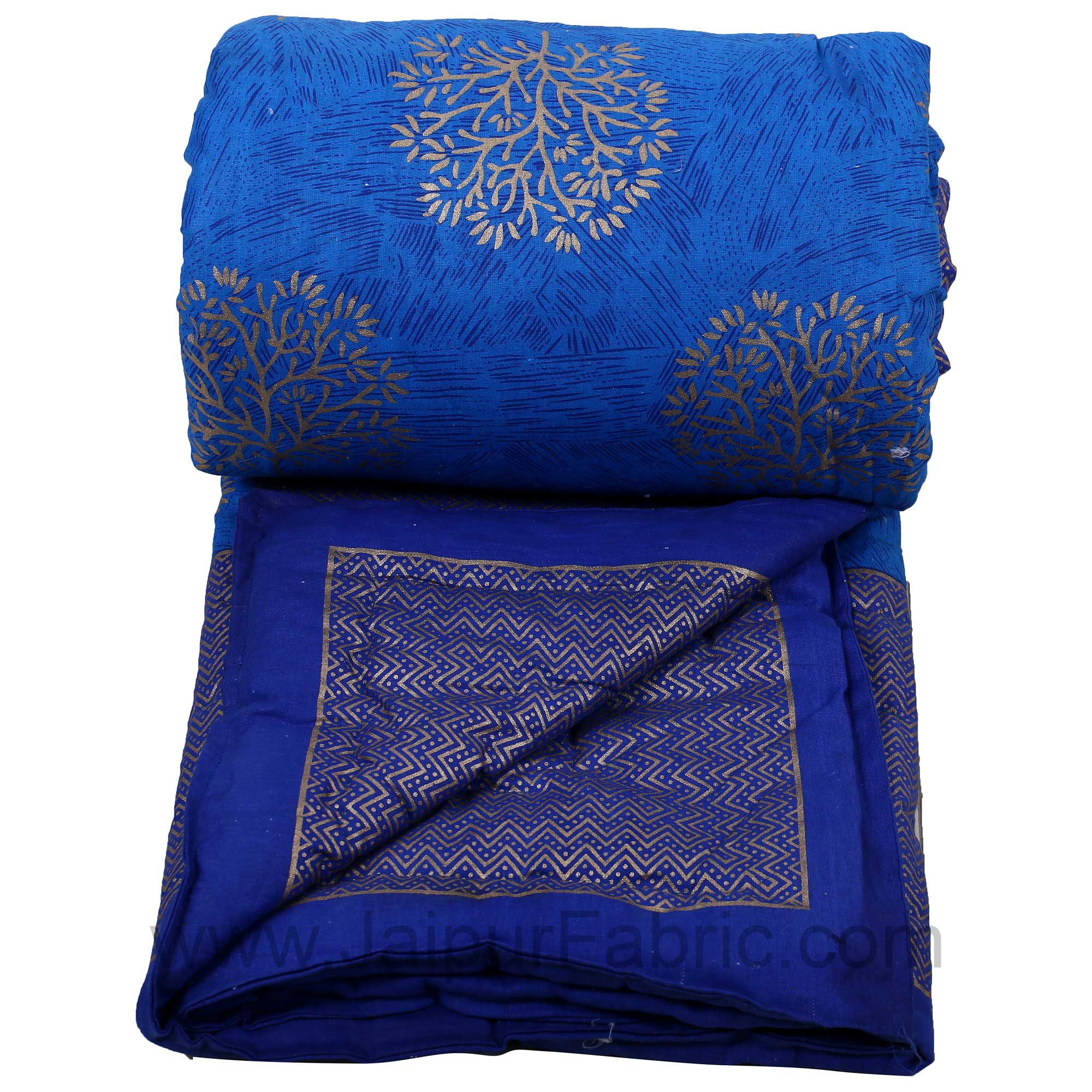 Jaipuri Printed Single Bed Razai Golden Blue And Sea Green With Leaf Pattern
