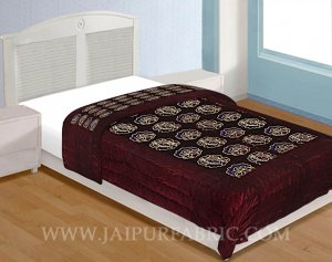 Jaipuri Single Printed Velvet Quilt/Rajai Hand Crafted Floral Print
