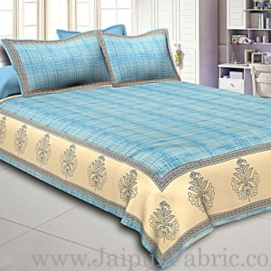 King Size Bedsheet  Cotton Satin Sky Blue Border With Cream And Blue  Base Hand Block  Pattern