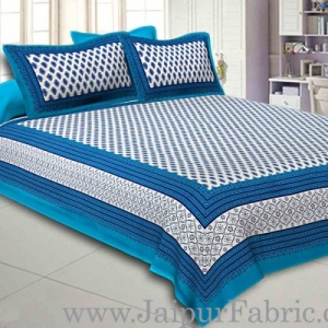 Double Bedsheet Blue Border Fine Cotton Leaf Print With Two Pillow Cover