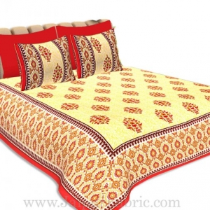 Double Bedsheet Red Border Big Boota Print