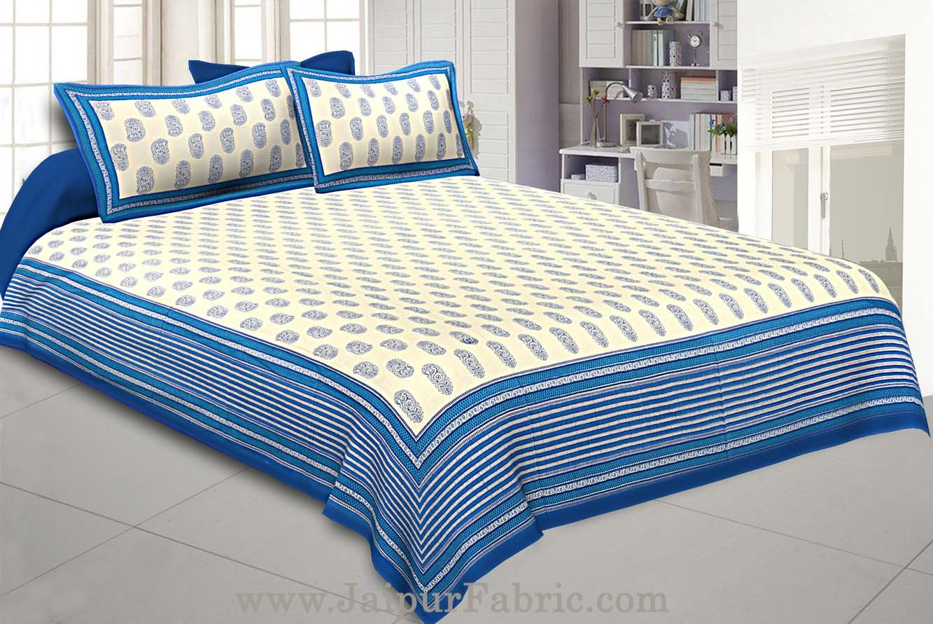Paisley King Size Bedsheet Blue Border in Super Fine Cotton  with 2 Pillow Covers