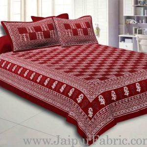 Maroon Border Maroon  Base Checkered  Print Fine Cotton Double Bed sheet  With Pillow Cover