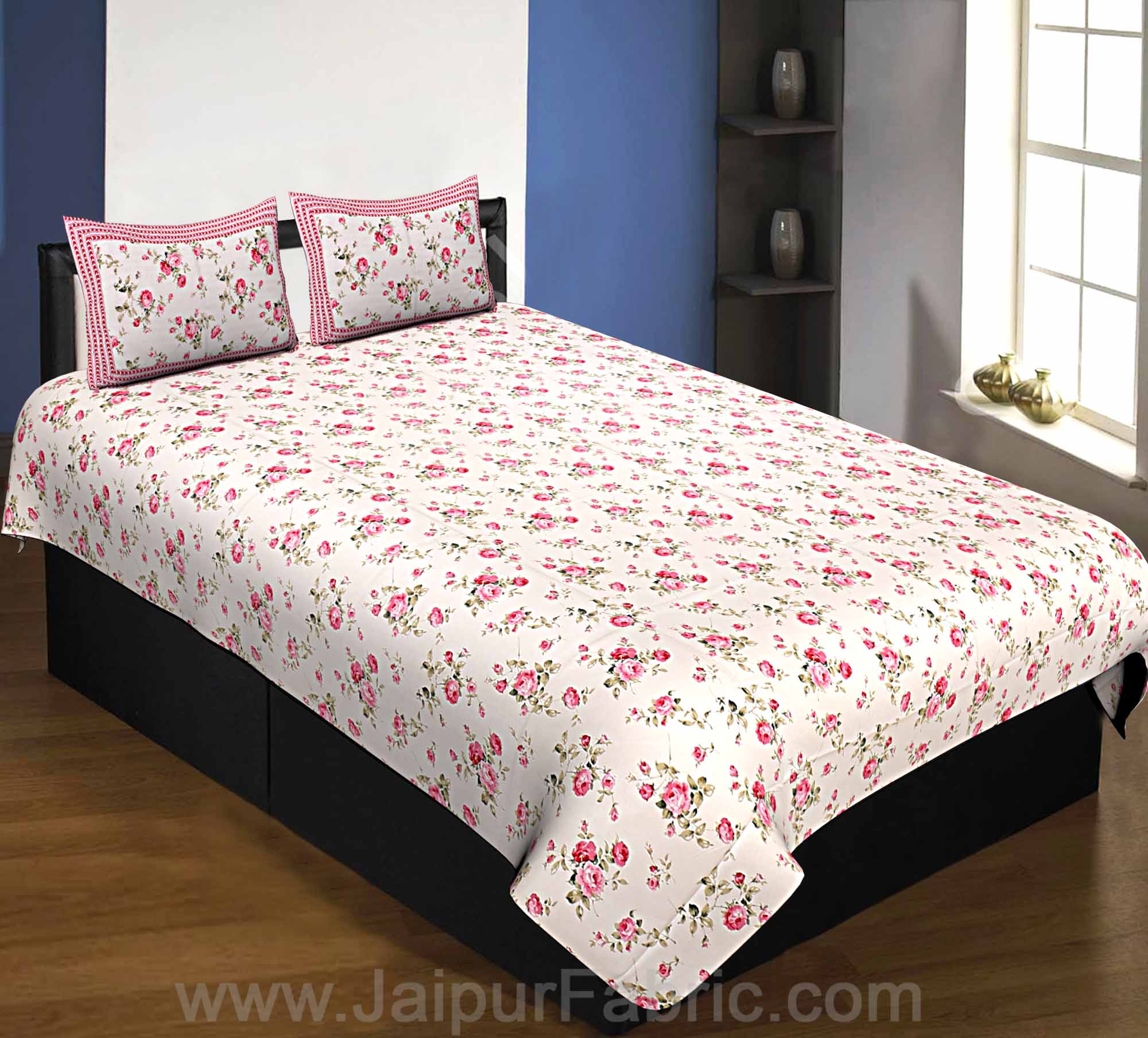 Pure Cotton 240 TC Single Bedsheet in cream seamless floral print taxable