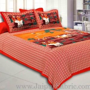 Red Border Bailgadi Pattern Pigment Print Cotton Double Bedsheet