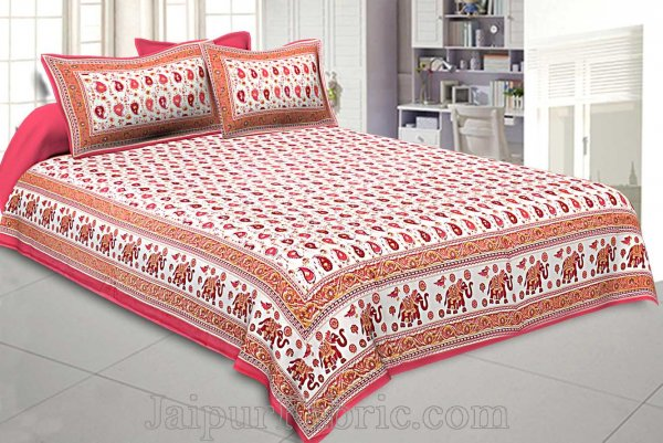 Double Bedsheet Paisley Watermelon Pink Gold Print