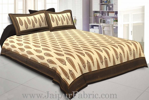King Size Bedsheet Black Border Golden Paisley Print With Two Pillow Cover