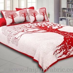 Red Border Light Cream base Big Tree Pattern  Super Fine Cotton Double Bed Sheet