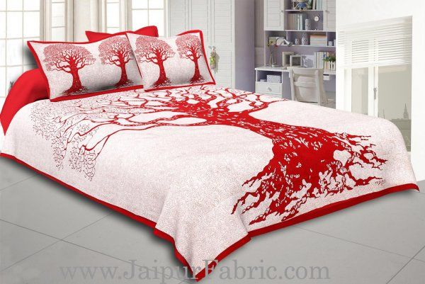 Wholesale  Red Border Light Cream base Big Tree Pattern  Super Fine Cotton Double Bed Sheet