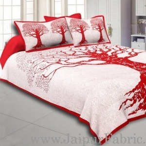 Wholesale  Red Border Light Cream base Big Tree Pattern  Super Fine Cotton Double Bed Sheet