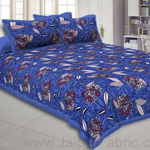 Royal blue Flowery Double Bedsheet