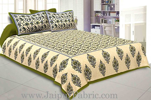Green  Border Tropical keri Design Cotton Double Bed Sheet