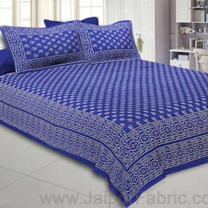 Double Bedsheet Royal Blue Small Leaf Print