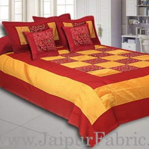 Maroon With Embroidery Silk festive Double Bed sheet