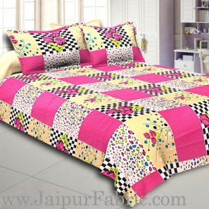 Pink Flower with Checkered Print Double Bed Sheet