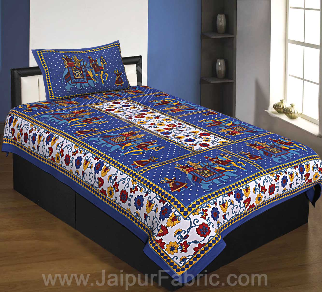 Blue  Border Big Elephant Printed Cotton Single Bed Sheet