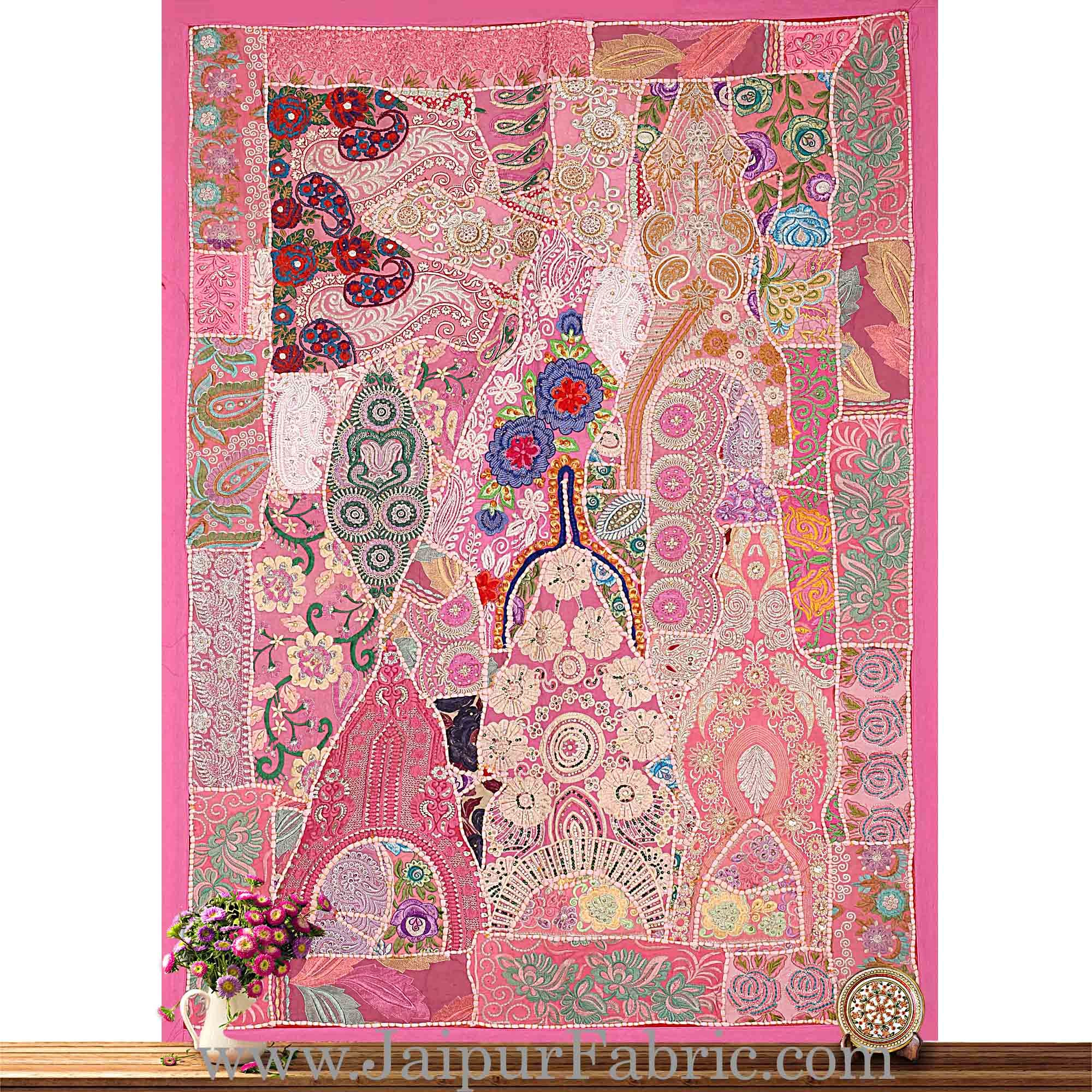 Wall Hanging Embroidered Patchwork With Multi Thread Work
