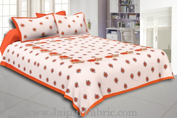 Dotted White Base Orange Lotus Flower Print Cotton Double Bed Sheet