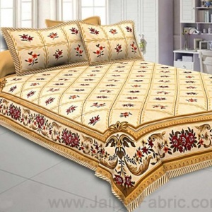 Double Bedsheet Multi Cream Floral Cotton