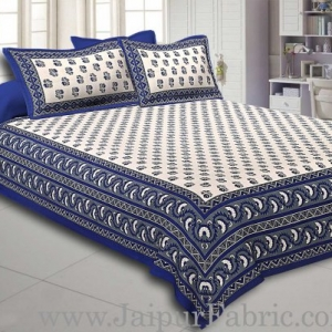 Blue Border with Bell And Floral Cotton Double Bedsheet