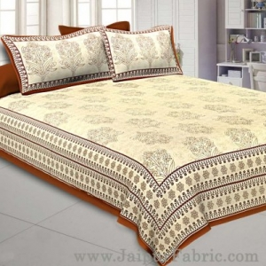 Brown Gamla block Double Bedsheet With 2 Pillow covers