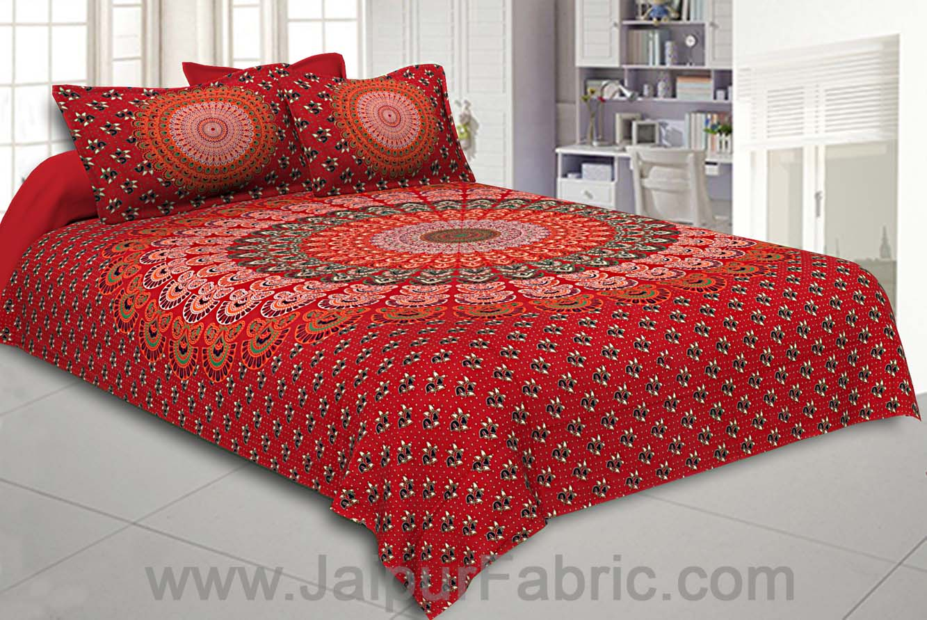 Chilli Red Mandala Bedsheet Tapestry Floral Print With 2 Pillow Covers