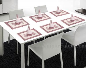 Pink Border With Hand Block Print Super Fine Cotton Mate Napkin Set  Of 6