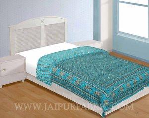 Jaipuri Razai Aqua Color Elephant Golden Print Single Bed Quilt