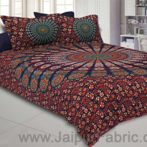 Colorful Mandala Double Bedsheet Tapestry with 2 Pillow Covers
